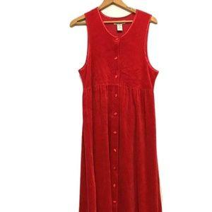 VINTAGE Red VELVET Button Up Empire Waist Dress